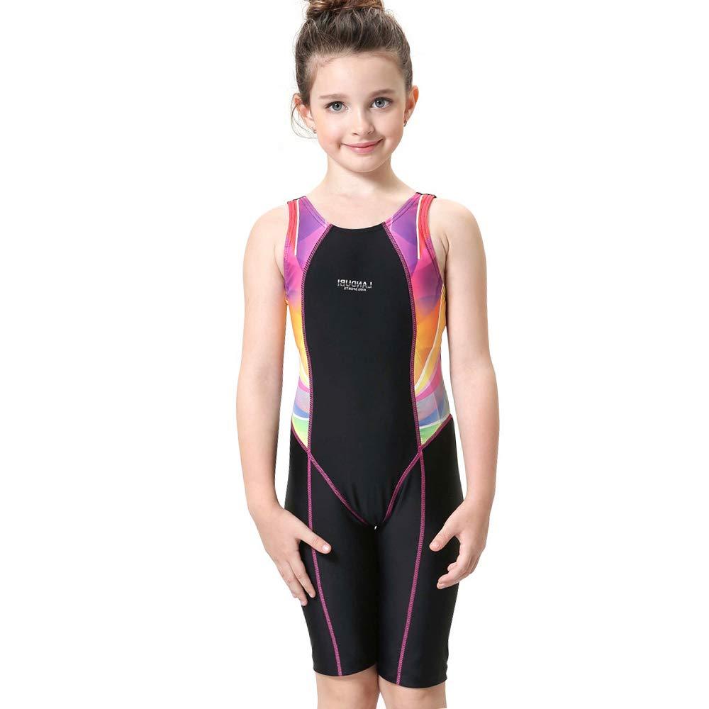 Girls Athletic One Piece Sport Swimsuit Splice Racerback Race Tain Lesson Legsuit NIDALEE INTERNATIONAL