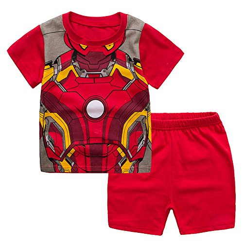 Meteora Boys Short Pajamas Toddler Kids Super Hero PJS Snug Fit Sleepwear Summer Clothes Shirts (Iron Man, 3-4T)