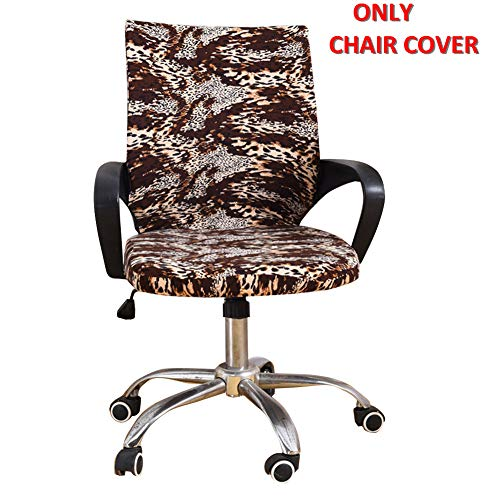Deisy Dee Universal Computer Office Rotating Stretch Polyester Mid Back Function Chair Cover C111 (Leopard) (Dining Chair Leopard Covers Room)