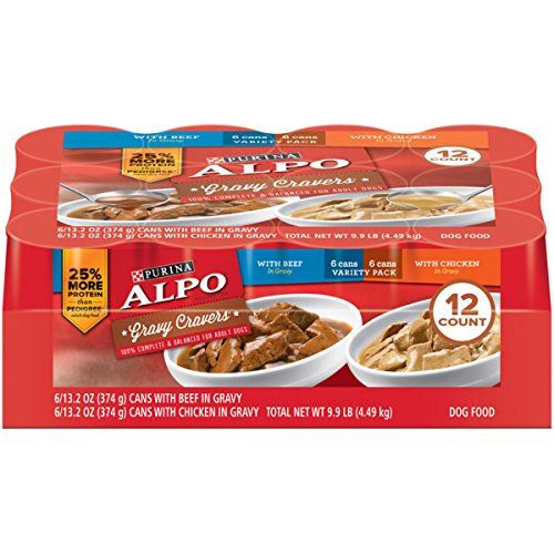 51ILqFhb0OL - Purina ALPO Gravy Cravers Adult Wet Dog Food Variety Pack - Twelve (12) 13.2 oz. Cans