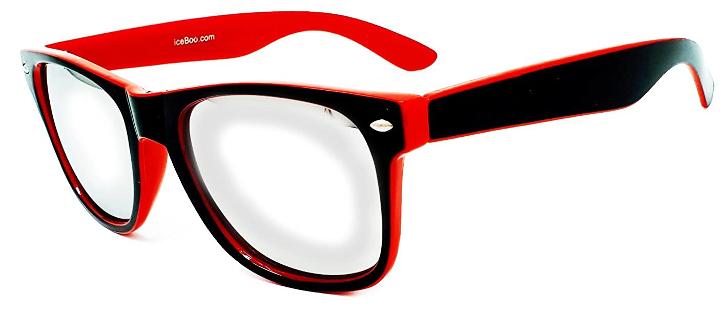 7f5494aaa2 iceBoo Sunglasses Two Tone Reflective Lens Vintage Style Classic Frame  unisex UV400 protection