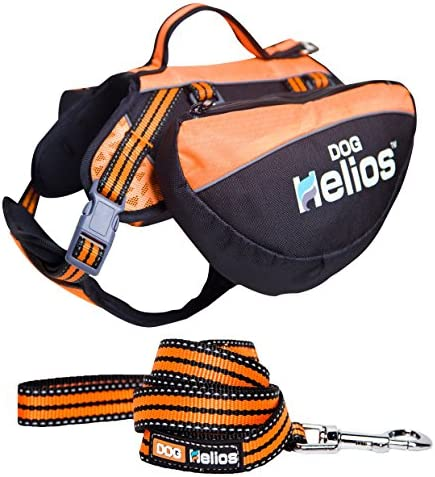 DOGHELIOS Freestyle 3-in-1 Explorer Sporty Fashion Convertible Pet Dog Backpack Harness and Leash Small Orange