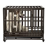 SMONTER 38″ Heavy Duty Strong Metal Dog Cage Pet Kennel Crate Playpen with Wheels, I Shape, Brown For Sale