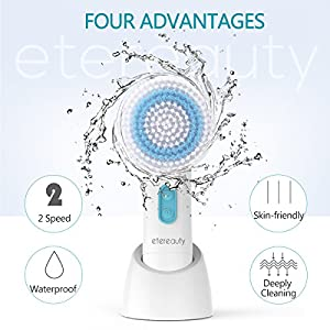 ETEREAUTY Facial Brush Waterproof Body Facial Cleansing Brush for Deep Cleansing, Gentle Exfoliating and Removing Blackhead with 5 Brush Heads