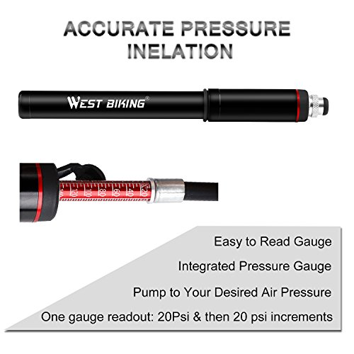 WESTGIRL Cycling Pump with Gauge, Portable Mini Bike Pump - Fits Presta Schrader - Accurate Inflation - High Pressure 150 PSI for Road Mountain BMX Bicycle Tire Pump, Includes Free Repair Gift by WESTGIRL (Image #8)