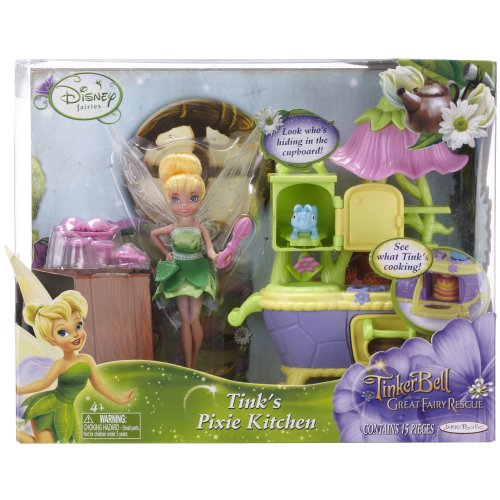 Disney Fairies 4.5″ Fairy With Play Environments – Wave 1 Style 1 – Tink's Pixie Kitchen, Baby & Kids Zone