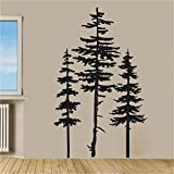 removing a wall Pine Evergreen Trees Set of Three Vinyl Wall Decal Sticker
