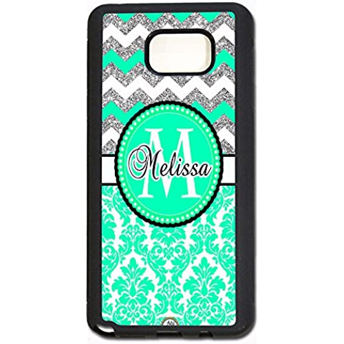 ArtsyCase Mint Damask Silver Chevron Monogram Personalized Name Phone Case - Samsung Galaxy S7 Edge (Black) Sales
