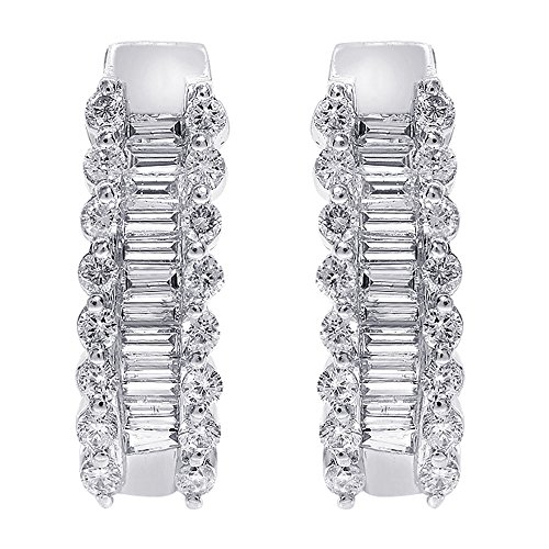 1.00 Carat Round and Baguette Cut Diamond Hoop Earrings 14K White - Diamond Baguette 14k Gold Hoop