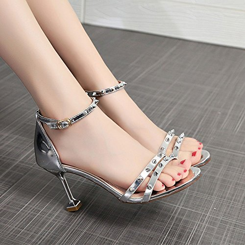Donna Tacco Tacchi Cinturino Argento Con A Spillo Borchie Meibax Estivi Alto Sandali Eleganti Caviglia Scarpe pdxBwpY