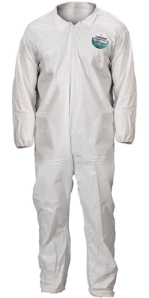 Lakeland Industries CTL412V-LG MicroMaxNS Coverall, Large, White