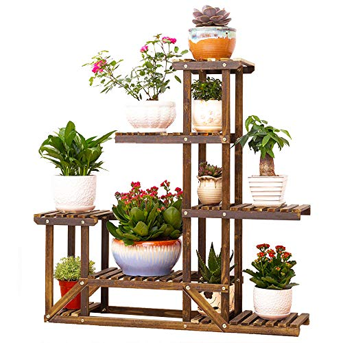 Wooden Plant Display Stand Flower Bonsai Pot Shelf Storage Rack Outdoor Indoor 6 Pots Holder 96x95x25cm