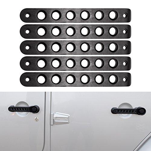 Black 5pcs Front Rear Door Aluminum Grab Handle Inserts Cover for Jeep Wrangler JK JKU Unlimited Rubicon Sahara X Sport Accessories Parts 2007 2008 2009 2010 2011 2012 2013 2014 2015 2016 2017