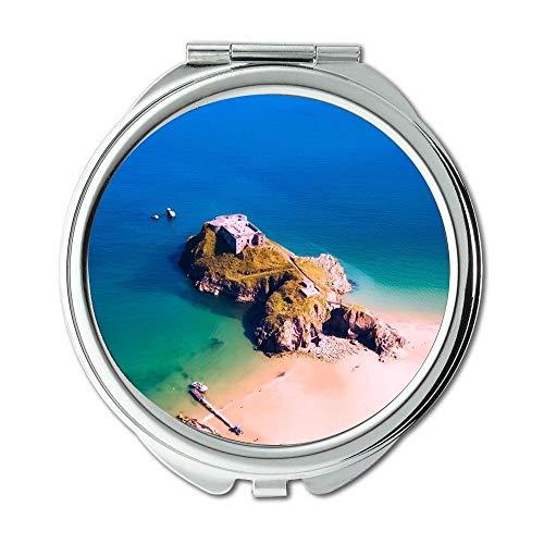 Mirror,makeup mirror,aerial view beach boat,Pocket Mirror,portable -