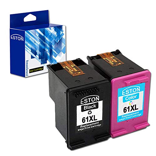 ESTON Re-Manufactured Ink Cartridge Replacement for HP 61XL 61 XL Ink for Envy 4500 4501 4502 4504 5530 5531 5535 High Yield (Black/Color,2-Pack) ()