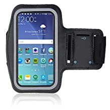 Sportband for Samsung S4 S5 S6 S6 Edge S7 A3 Series 5.0 inch Black Armband Sweat Proof Soft Neoprene Stretchable  Strap Reflective StripDual Arm Slots MMOBIEL