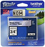 4 Pack Brother Tape, Retail Packaging, 3/4 Inch, Black on Clear(TZe141)