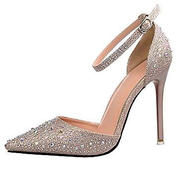dbcc74fff19592 Tingtingbin Weibliche Sandalen Lady Strass Sommer Schuhe High Heels