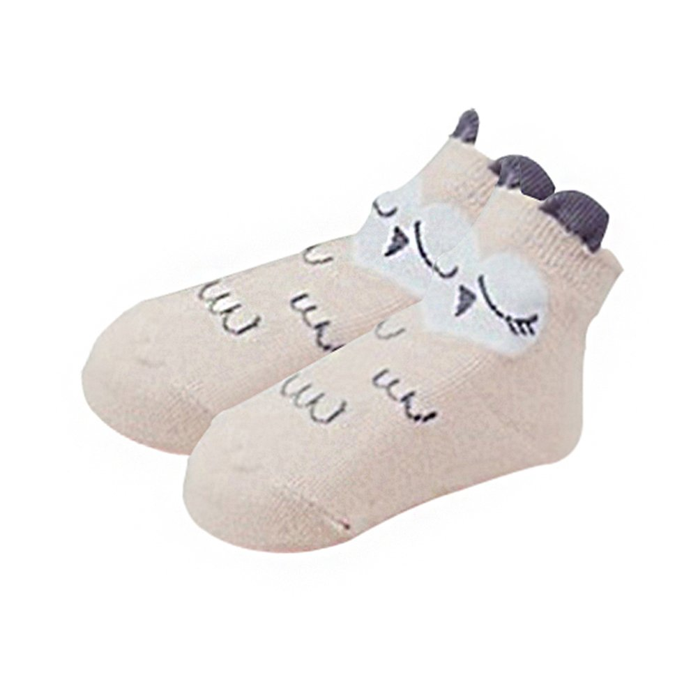 Chyatii Calcetines de Niños Calcetines Termicos Niños Calcetines de Algodón Calcetines Antideslizantes para Niñas Niños Bebé Cómodo Transpirable Patrón Tridimensional de Cachorro y Búho 0-4años (blanco, S(0-2años))