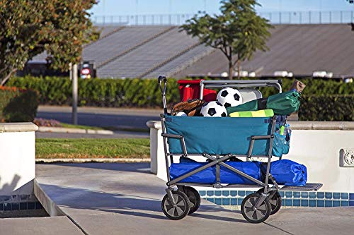 Mac Sports Double Decker Collapsible Outdoor Utility Wagon with Straps | Folding Pull Cart, for Sports Baseball Pool Camping Fishing, Collapsable Fold up Wagon with Wheels, Heavy Duty Steel, Teal by Mac Sports (Image #5)