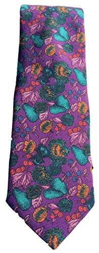 on Flower Design Silk Tie, Size Regular - Purple (Baker Striped Tie)