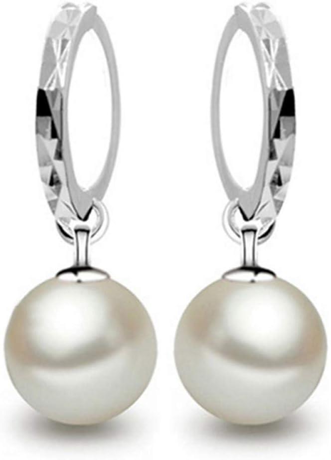 BGBG Pendientes de Mujer Pendientes de Perlas de Mujer Pendientes de aro Bola Perla Delicada Pendientes de Plata esterlina Color para Regalo de Fiesta de Bodas Mascarada Informal Diaria