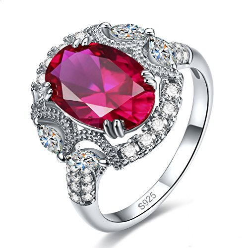 Jrose Sterling Silver Created Ruby/Emerald Statement Engagement Ring for Women