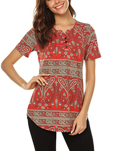 URRU Women's Casual Paisley Printed Shirt Short Sleeve Henley Flare Tunic V Neck Pleated Blouses Tops Red -