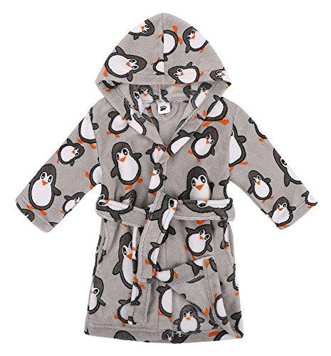 Verabella Boys Girls' Fleece Printed Hooded Beach Cover up Pool wrap,Penguin,XL (Short Penguin Plush)