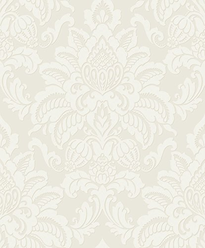 (Arthouse, Glisten Pearl White Baroque Wallpaper, Vintage Inspired Décor)