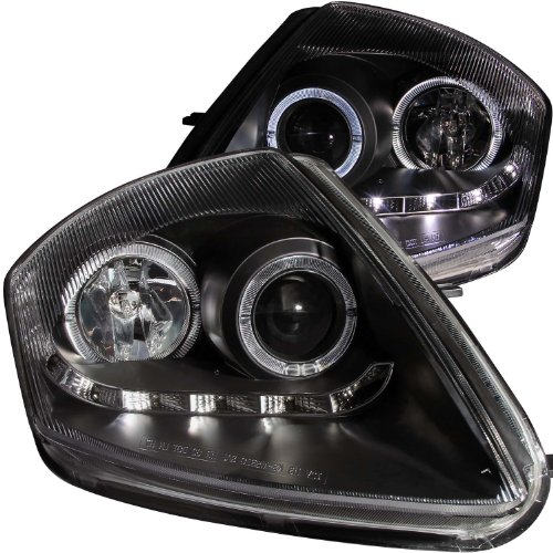 AnzoUSA 121419 Black/Clear Halogen Projector Headlight for Mitsubishi (Eclipse Halo Euro Projector Headlights)