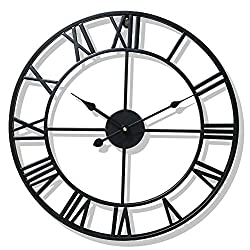 QFLY Large Wall Clock Wrought Iron Roman Art Retro Wall Clock Creative European Pastoral Living Room Wall Clock 23 Inches Clock8