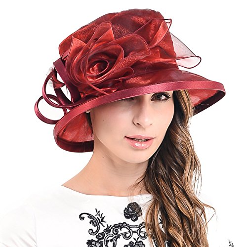 F&N STORY Lady Kentucky Derby Dress Church Wedding Party Hat Drown Brim S043 (Claret)
