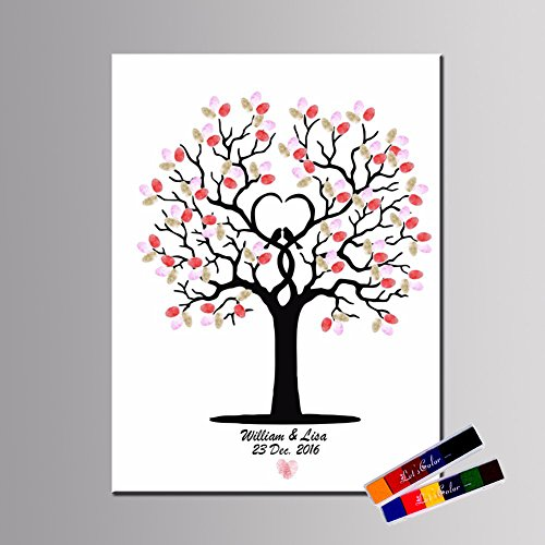 Personalize Wedding Guest Book Fingerprints Tree Signature Guestbook with Ink Pads DIY Canvas Sign-in Painting for Wedding Birthday Party Baby Shower Graduation
