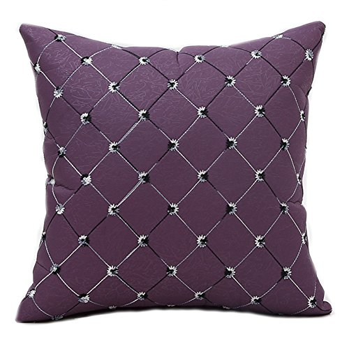 Famibay Square Modern Diamonds Shape Throw Pillow Case Geometric Chain Embroidered Cushion Cover 18 x 18 - Pillow cover Decorative (Color (Purple Pillow)