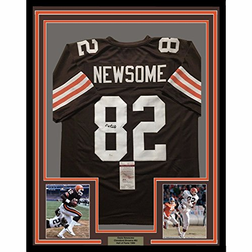 10 Cleveland Browns Jersey - Framed Autographed/Signed Ozzie Newsome