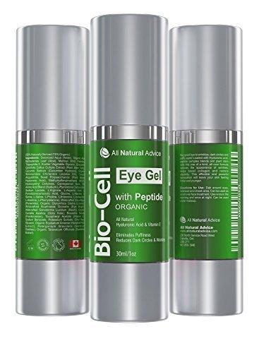 Bio Cell Augengel Creme Behandlung für Augenringe, Schwellungen, Fältchen. 100% Natürliche Inhaltstoffe mit Hyanluronsäure, Peptiden und Vitamin E stärkt Hautelastizität- Anti-Aging Hautpflege (30 ml)
