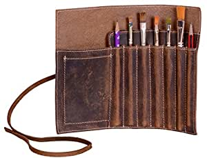 KomalC leather Pen case Pencil holder leather stationary case pouch for students and artists KOMALC Genuine Leather Pen Pencil Roll - Pen and Pencil Case pouch