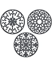 """gasaré, 10"""" Extra Large, Extra Thick, Silicone Trivets, Trivet Mat, Heat Resistant, Non-Slip, Dishwasher Safe, Round Design, for Hot Dishes and Kitchen Countertops, 10 x 3/8 inches, Set of 3, Grey"""