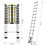 Finether 13.5ft Aluminum Telescopic Extension Ladder | Multi-purpose Telescoping Ladder,EN 131 Certified with Finger Protection Spacers, Anti-slip Treads and 331 lbs Capacity