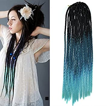Amazon 20 black to teal two colors soft dread lock crochet 20quot black to teal two colors soft dread lock crochet braid hair extensions synthetic pmusecretfo Images