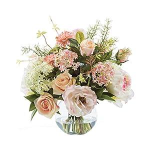 Peony, Rose & Snowball Hydrangea Silk Flower Centerpiece 4