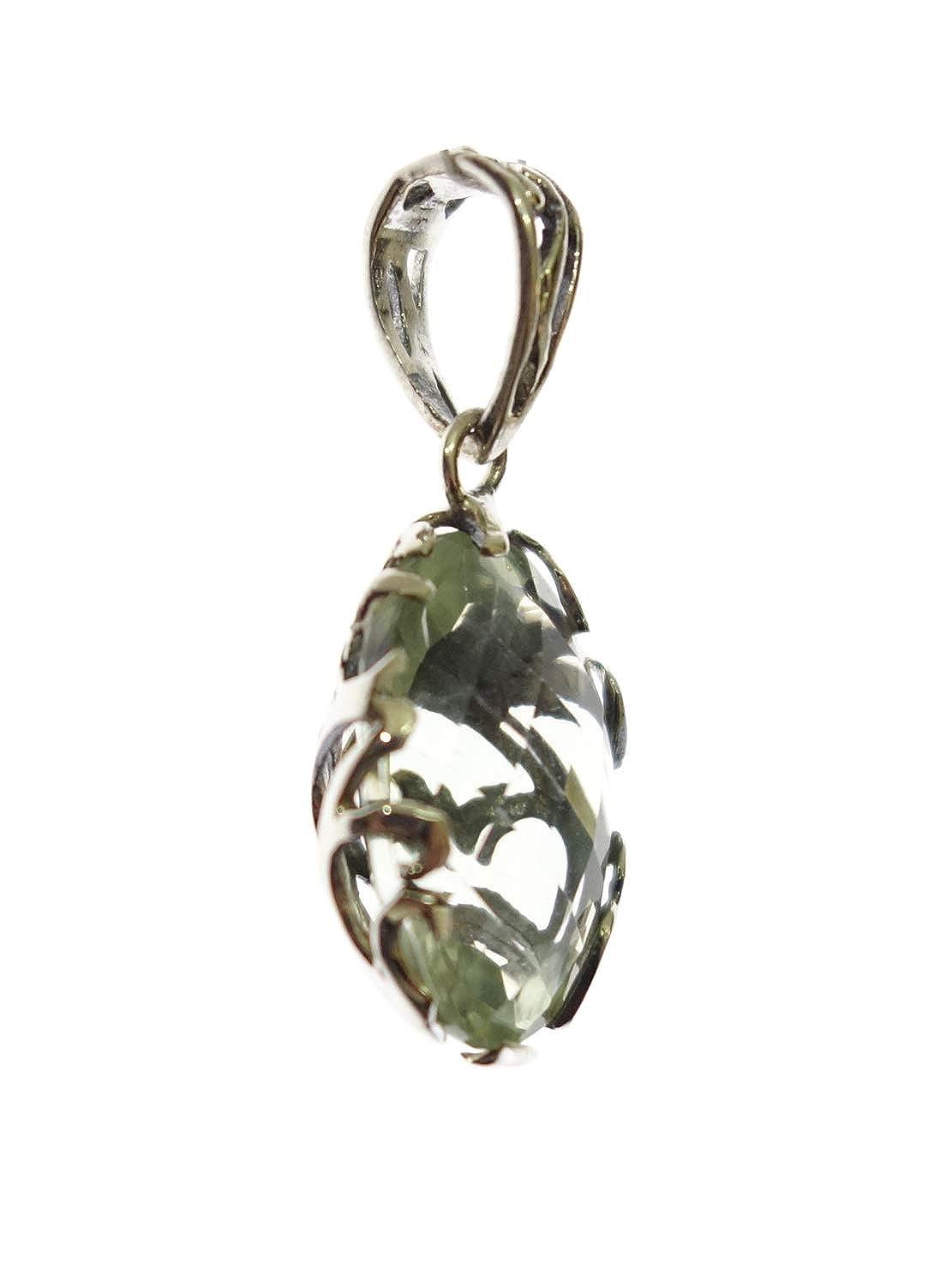 Authentic Balinese 925 Sterling Silver Green Amethyst Gemstone Pendant for Women /& Girls Modern Filigree Fashion Ethnic Reversible Amulet Gypsy Tribal Boho Style Handmade Jewelry Pendant