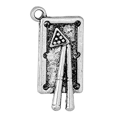 - PEPPERLONELY 10pc Antiqued Silver Alloy Billiard Table Charms Pendants 24x12mm (1