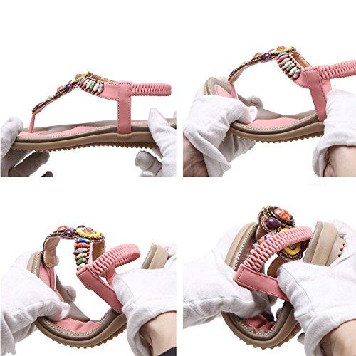 Pie Dedo del Sandalias Bohemia Zapatos de Lee con del Rosa Retro Romanas Mujer Verano Elegantes Super Clip Planas Sandalias Moda Cuentas Sandalias TqaCxwZ