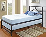 39'' Twin Size Day Bed Frame With Roll-Out Trundle, Headboard, Rails & Slats (Twin Daybed & Trundle)