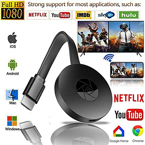 Wireless WiFi Display Dongle, HDMI 1080P TV Receiver Sharing HD Video from Projectors Cell Phones Tablet PC Support Airplay DLNA Miracast, Compatible with iOS/Android/Pixel/Nexus/Mac/Windows