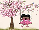 African American Sisters Room Wall Art Kids Bedroom Decor Cherry Blossom Tree Twins Nursery Decor 8''x10'' Unframed Poster