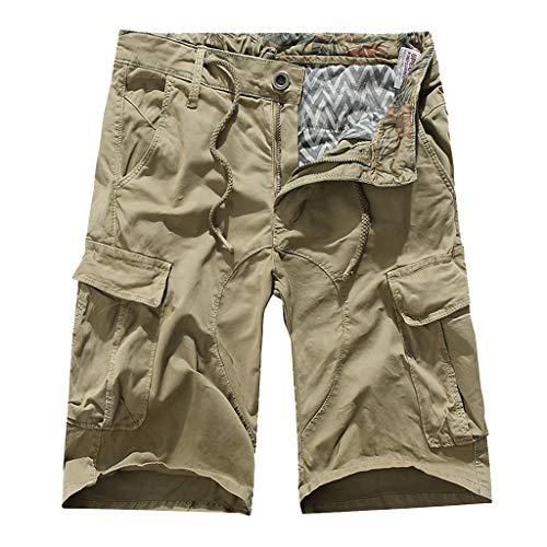 (POHOK Casual Shorts for Men Summer Fashion Mid-Rise Mens Shorts Loose Casual Multi-Pocket Tooling Pants(32,Khaki))