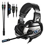 ONIKUMA Gaming Headset for PS4 ,PC,Xbox One Controller,Noise Cancelling Bass Over Ear Stereo Headphones with Mic,Bass Surround,LED Light, Soft Memory Earmuffs for Laptop Mac Nintendo Switch Games